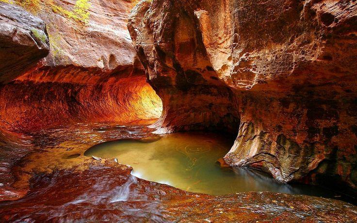 Kanion, Skały, Jaskinia, Rzeka, Przebijające, Światło