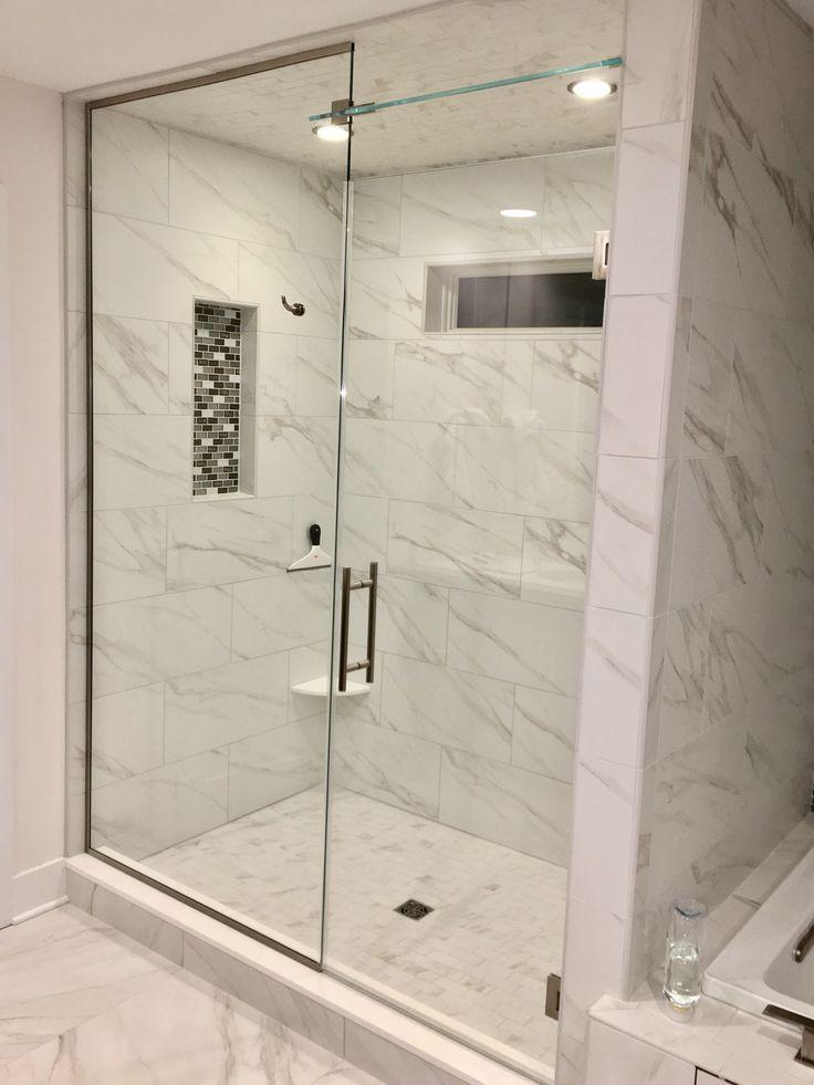 Frameless Shower Enclosure: Door + Panel + Above Door Transom With Ladder  Pull   Furnished