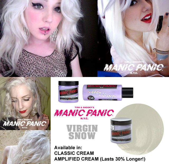 Manic Panic Virgin Snow. El tinte perfecto para conseguir un look impactante y único. Disponible en versión Classic y Amplified. Además, este tinte sirve también para modificar el resto de colores Manic Panic aclarándolos progresivamente en tonos pastel. Versión Classic: 12,90 euros. Versión Amplified: 14,90 euros. Recuerda que en ambos formatos la cantidad de producto es de 118 ml. El Amplified dura un 30% más en tu cabello. www.manicpanic.com.es