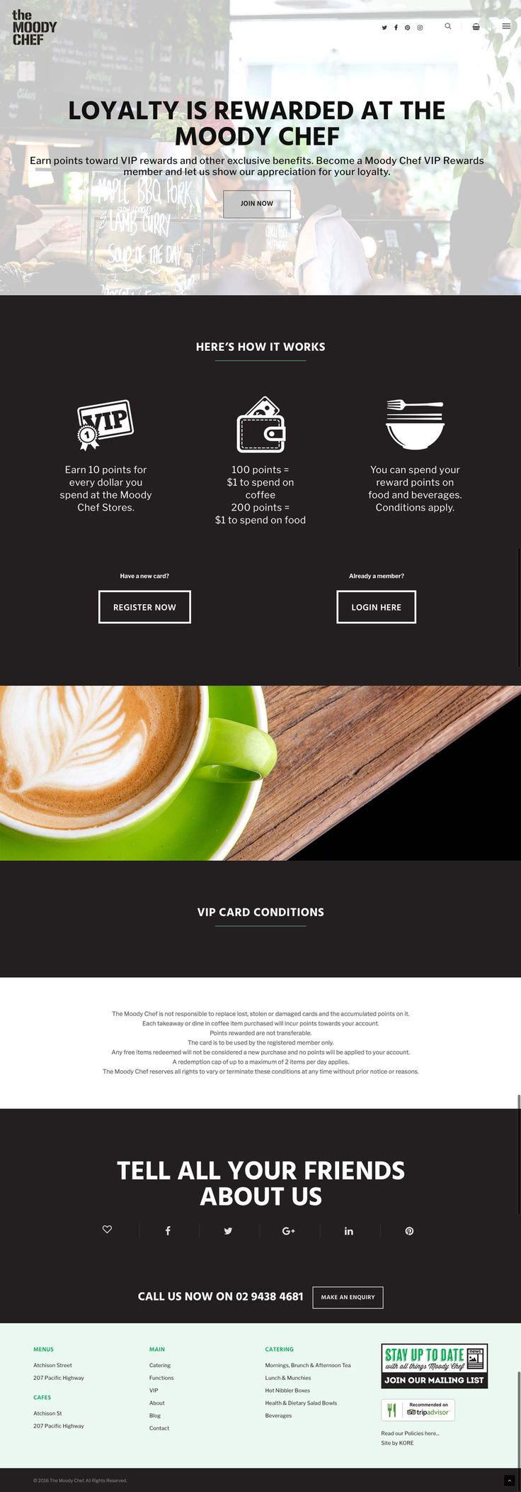 The Moody Chef's new responsive website by KORE (http://kore.digital/). VIP web page view.