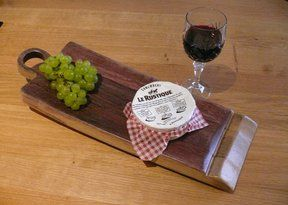 Large Food Platter, recycled from a French Oak Wine Barrel, with the original bung hole. Finished in Danish Oil.