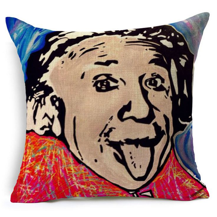 Einstein Guevara Pop Art Funny Patterned Office Chair Cushion Cover Decorative Vintage Home Decor Sofa Throw Pillow Case e606