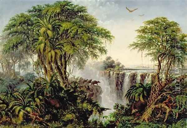 Victoria Falls with Stampeding Buffalo by Thomas Baines -
