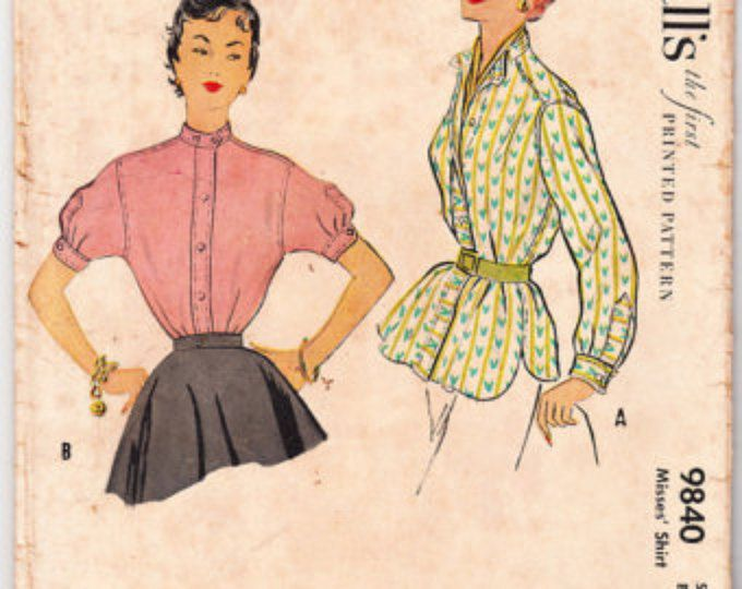 Vintage 1954 McCall's 9840 Sewing Pattern Misses' Shirt Size 12 Bust 30
