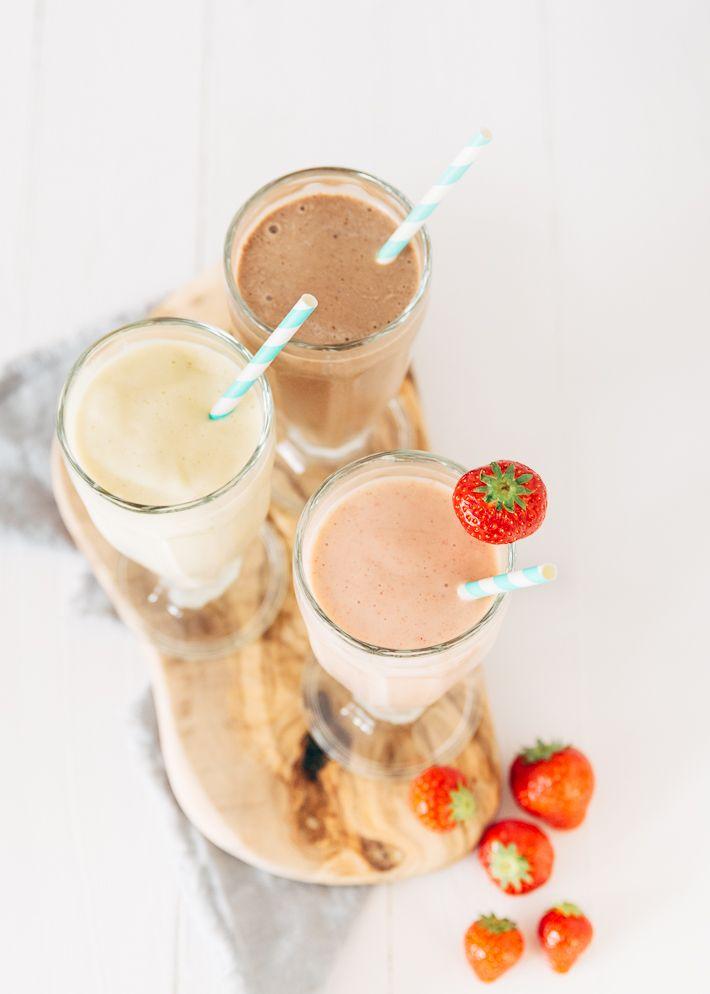Vandaag deel ik 3 healthy milkshakes. Yes dat zijn gezonde milkshakes zonder roomijs, koemelk en suiker. Vegan en lactosevrij.