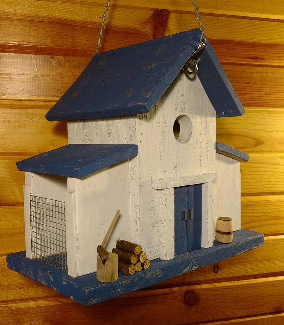 Magnificent Vintage Blue Barn Birdhouse And Feeder Bird Houses Bird Interior Design Ideas Philsoteloinfo