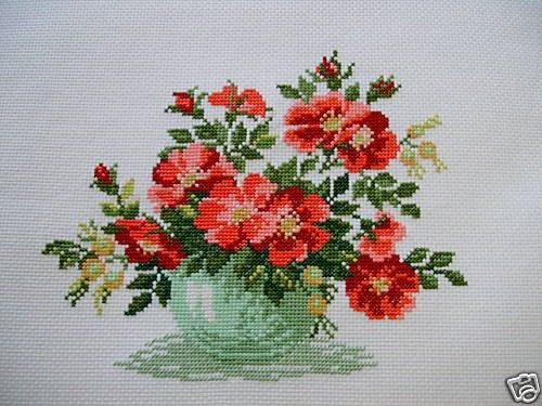 COMPLETED CROSS STITCH WILD ROSES by silviaol on Etsy, $55.00