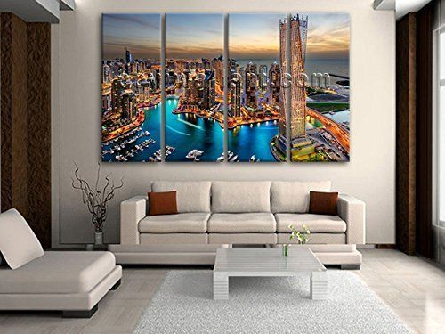 "Huge Beautiful Sunset Urban Cityscape Art Canvas Print HD Dubai City Landscape, Oversized Cityscape Wall Art, Living Room, Mondo. Huge Beautiful Sunset Urban Cityscape Art Canvas Print HD Dubai City Landscape Subject : Cityscape Style : Photography Panels : 4 Detail Size : 24""x60""x4 Overall Size : 99""x60"" = 251cm x 152cm Medium : Giclee Print On Canvas Condition : Brand New Frames : Gallery wrapped Availability: *Important: This is a very large size wall art, and we are not able to ship…"