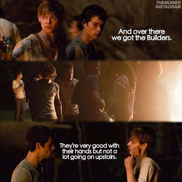 "#themazerunner - « ""Well, you got the Builders, the Sloppers, Baggers, Cooks, Map-makers, Med-jacks, Track-hoes, Blood Housers, The Runners, of course. I don't know, a few more, maybe. Pretty much keep to myself and my own stuff."" – Zart telling Thomas about different jobs in the Glade, The Maze Runner pg. 104"