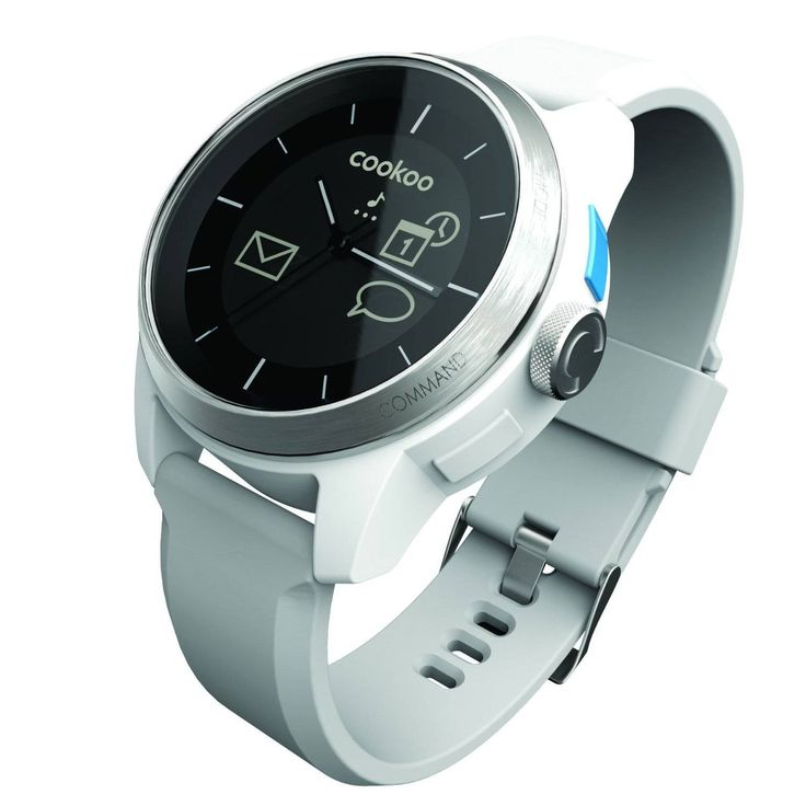 CooKoo Smart Watch – Silver  - UP TO 1 YEAR BATTERY LIFE FOR CONNECTED DISPLAY (BLUETOOTH 4.0): IOS 6/7 & ANDROID 4.2.2 5ATM WATER RESISTANT INCOMING CALLS AND FA...