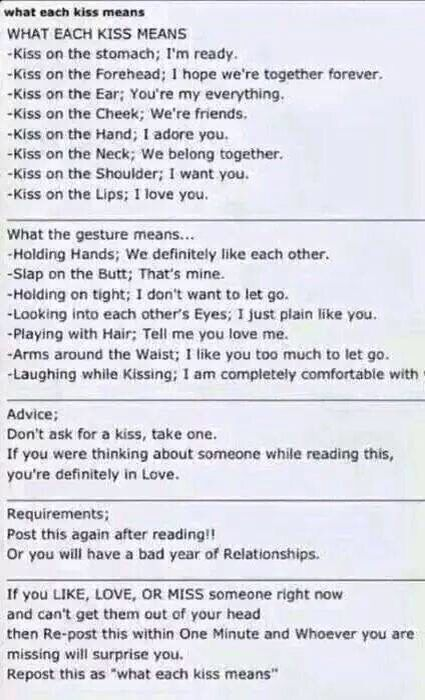 What each kiss means .. Defiantly thought of someone