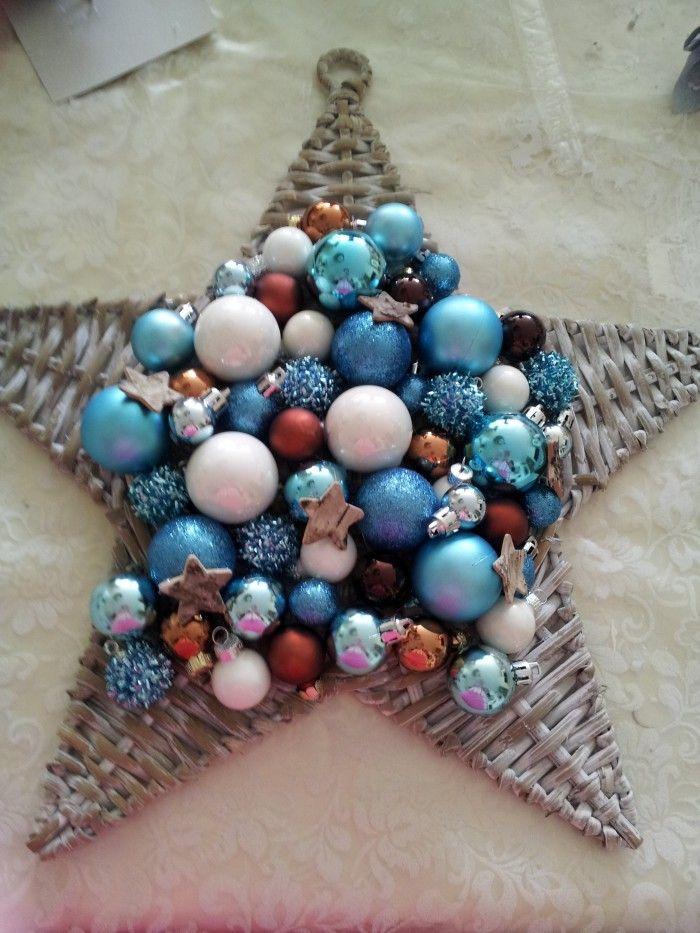 ster gekocht bij kruidvat 3,99. De kerstballen bij action en zeeman. Er op gelijmd met een lijmpistool. Erg leuk om te doen.