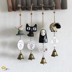 可爱树脂公仔铃铛挂件家居田园卡通猫创意礼品风铃无脸男羊鸟摆件