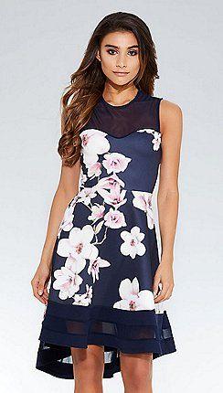 76f3d3fb13 Quiz - Navy and pink floral dip hem dress | rippijuhlat | Dresses ...
