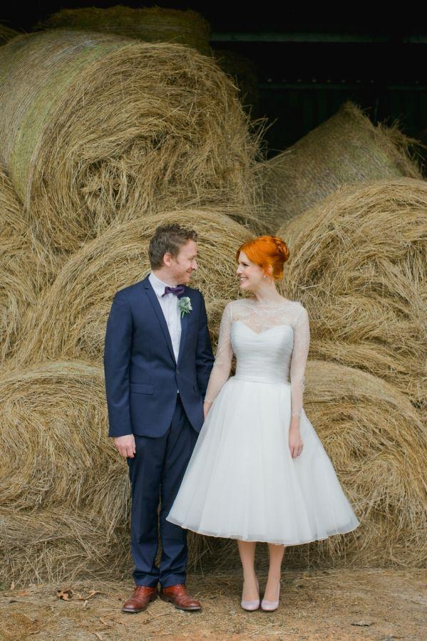 Vintage Wedding - love the dress! Hay bales