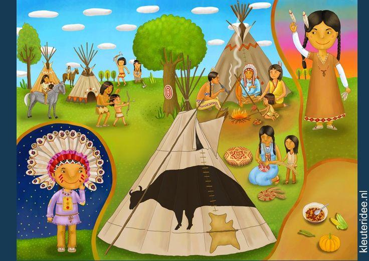 Praatplaat Indianen voor kleuters, kleuteridee.nl, free printable (groot formaat) / Children's illustrations preschool / Láminas Didácticas