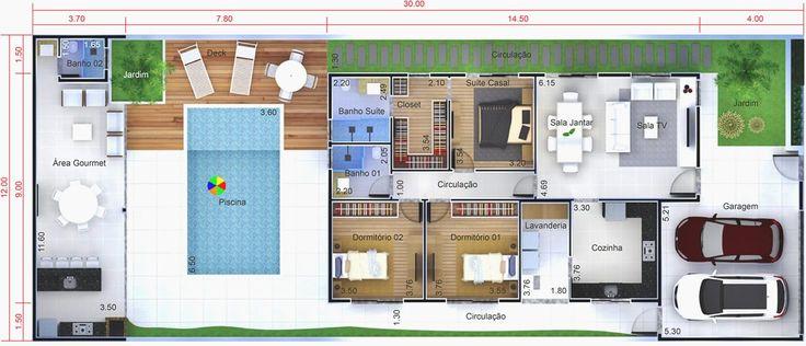 Planta de casa con poca casa y la piscina. Plano para terreno 12x30