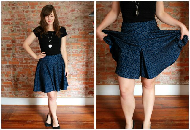 culottes cleverly disguised as a circle skirt--ingenious use of box pleats. pattern from Megan Nielsen
