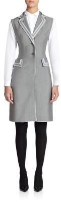 Thom Browne Satin-Trimmed Wool Shirtdress - Shop for women's Shirt - BLACK/WHITE Shirt