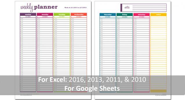 Basic Weekly Planner Excel Template - PDF Print
