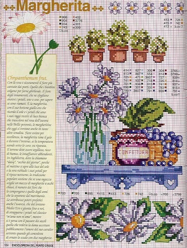 цветы маргаритка схема вышивки