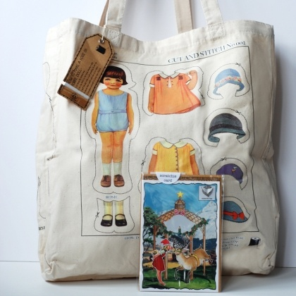 """An all in one solution to that Kris Kringle present, at a special price. A cut and stitch rosie and robbie tote bag & scratchie mistletoe gift card.  Use code """"early bird"""" on the website for an extra 20% off."""
