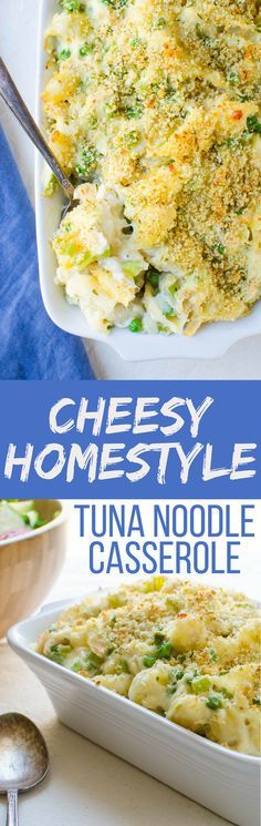 Need an authentic Cheesy Homestyle Tuna Noodle Casserole recipe? This is it with tender shell pasta, sautéed vegetables and a creamy sauce with two cheeses.