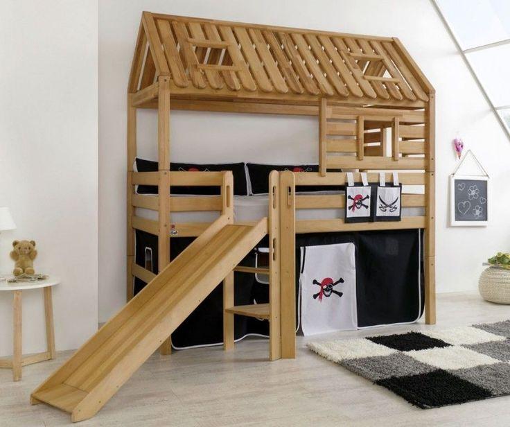 Hochbett Tom´s Hütte 1 Kinderbett mit Rutsche Spielbett Bett Natur Stoff Pirat in Möbel & Wohnen, Kindermöbel & Wohnen, Möbel | eBay!