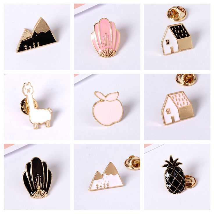 Free Shipping Cartoon Cute Animal House Mountain Fox Apple Sheep Design Metal Brooches Pins Button Pin Fashion Jewelry For Women
