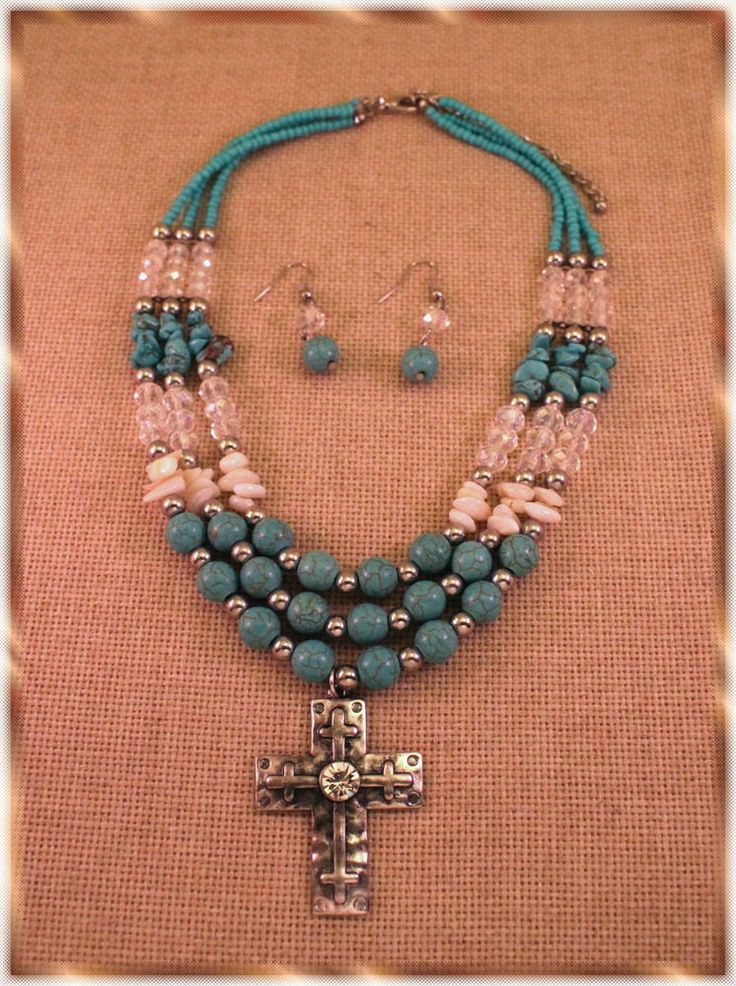 WESTERN Turquoise Beads Crystals Three Strand Silver Cross Necklace Set #Unbranded