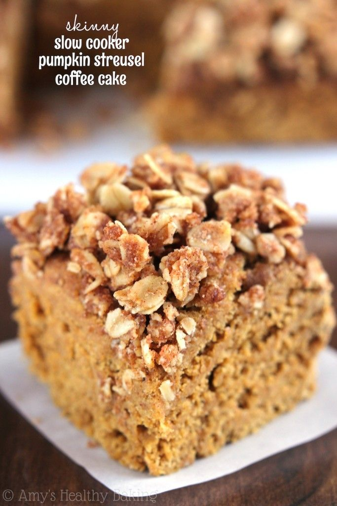 50 Healthy Slow Cooker Recipes - pumpkin coffee cake included