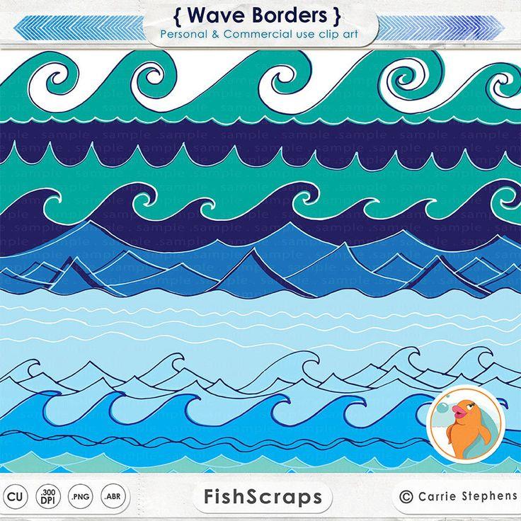 Wave Border ClipArt, Water Border Image, Beach Digital Art ...