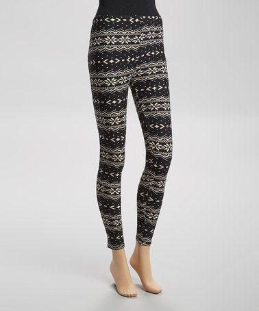 Take a look at this Black & White Digital Snowflake Leggings - Women by…