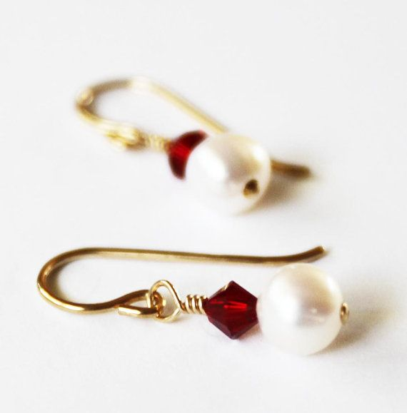 PEARL EARRINGS 14k Gold Fill Hook Earrings with White Freshwater Pearls and Ruby Swarovski Crystal