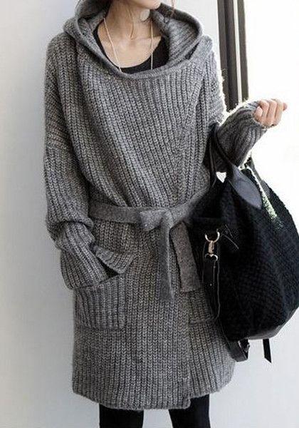 Grey Hooded Knit Cardigan