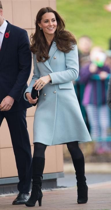 Kate Middleton's coat game is always spot-on, with tailored beauties like this baby blue double-breasted Matthew Williamson coat