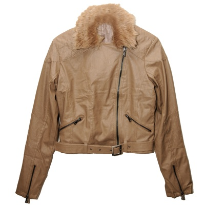 Designer PU Leather Jacket with detachable faux fur for R465