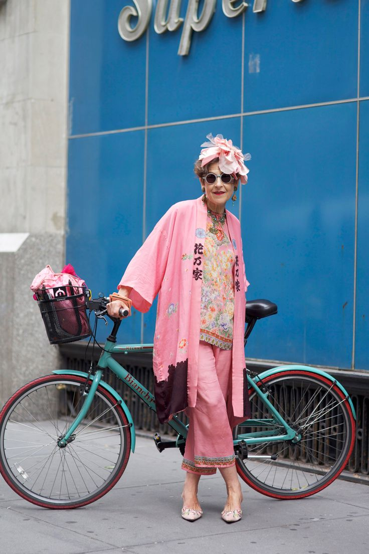 """This Is What Ageless Style Looks Like #refinery29 http://www.refinery29.com/fashionable-senior-citizens#slide8 And, what's your favorite thing to wear now? """"The Chinese clothes I own. I love those. I love my Japanese clothes. I have one outfit of Japanese clothes from the 1920s — kimonos that I can layer. I love the Turkish coat I just bought. I'll probably live in that. It's stripped. I have so many vintage pieces I love."""""""