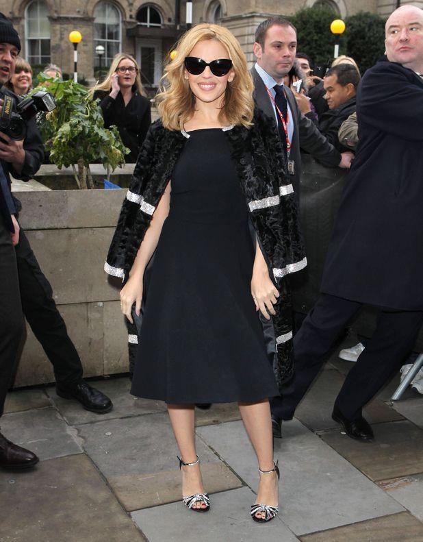 Kyle Minogue in Dolce  Gabbana Dress at BBC Radio One studios, London.