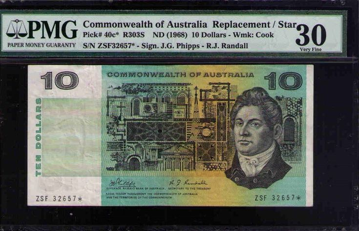 Commonwealth of Australia STAR NOTE Pick#40c* R303S 1968 $10 Phillips PMG 30 VF