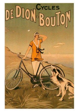Vintage poster bike and dog