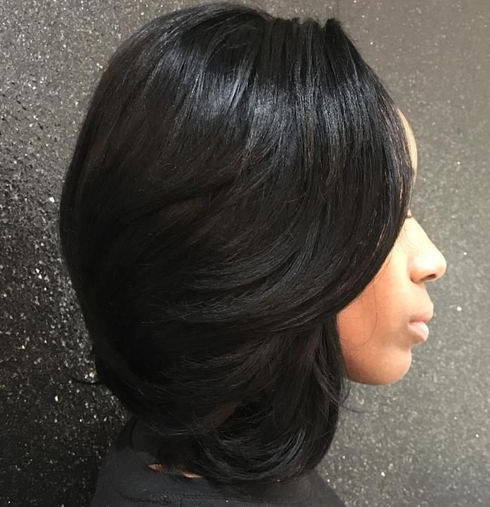 Medium Black Sew-In Hairstyle