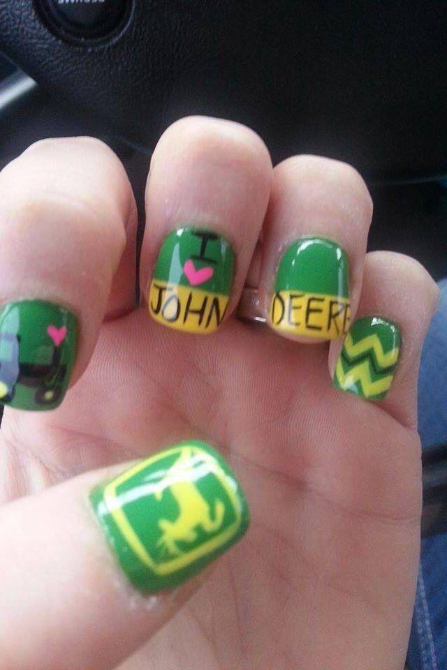 John Deere nail art. I love the tractor one,
