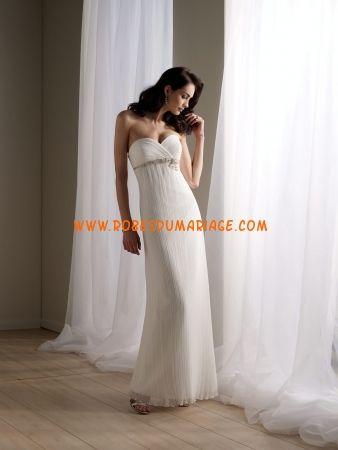 Rina di Montella belle robe simple ivoire mousseline robe de mariée pas cher