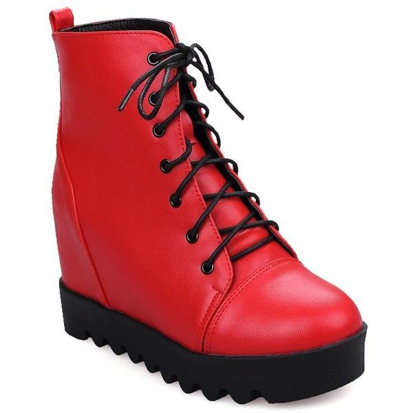 Red 34 Female Winter High-heeled Platform Anti Skid Combat Boots ($33) ❤ liked on Polyvore featuring shoes, boots, high heel shoes, red platform boots, army boots, combat booties and platform boots #platformhighheelsboots