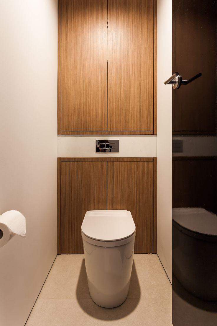 Apartment renovation - Restroom/ WC by LDC. Claremont, Western Australia. #modern #toilet #concealedcistern #timber #black #style #design #interiorstyle #interiordesign #trends #storage