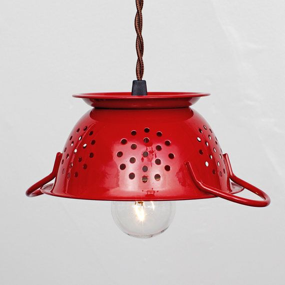 Repurposed Kitchen Colander Pendant Light  Cherry by FleaMarketRx, $82.00