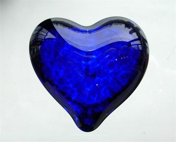 Glass Heart Paperweight in Cobalt Blue