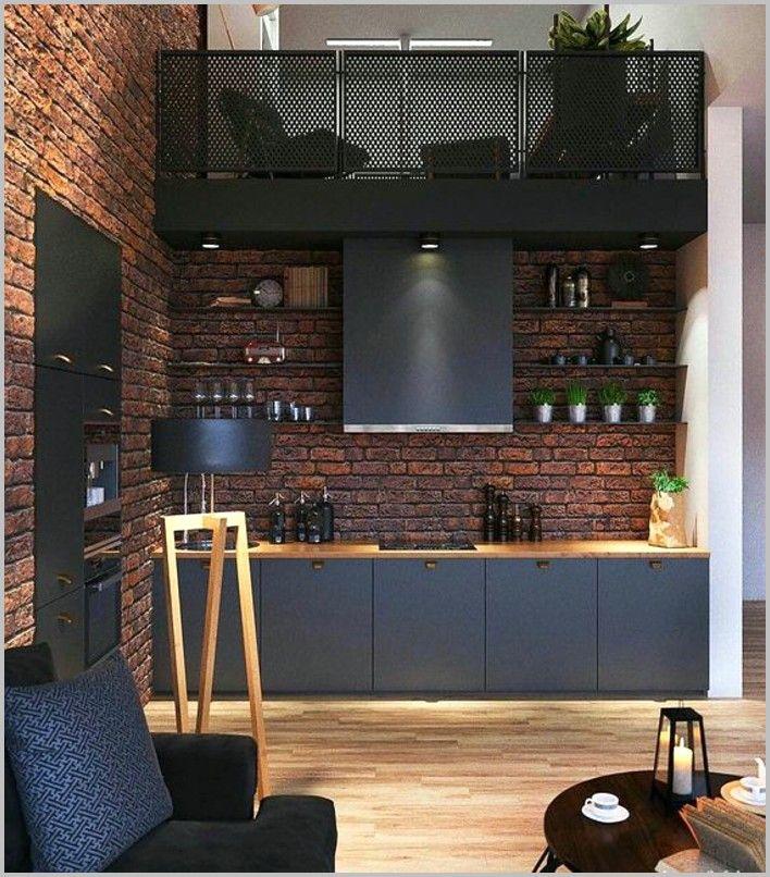 Cuisine Peinte En Bleu Canard Et Noir En 2020 Cuisine Noire Cuisine Industrielle Interieur D Appartement