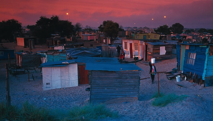 Khayelitscha a township in Cape Town, South Africa ... the last rays of sunlight.